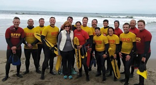 Facilities - image of surf rescue team after training at ocean beach